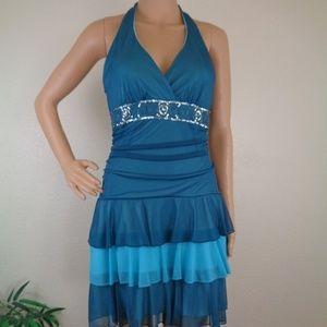 Junior Medium Halter Dress Teal Blue Tiered Lined